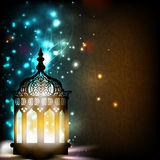 Intricate Arabic lamp with lights. stock illustration