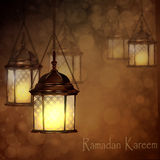 Intricate Arabic lamps with lights Stock Photography