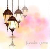 Intricate Arabic lamps with lights Royalty Free Stock Photos