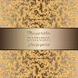 Intricate baroque luxury wedding invitation card. Rich gold decor on beige background with frame and place for text, lacy foliage with shiny gradient Royalty Free Stock Photos