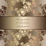 Intricate baroque luxury wedding invitation card. Rich gold decor on beige background with frame and place for text, lacy foliage with shiny gradient Royalty Free Stock Image
