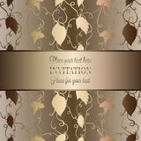 Intricate baroque luxury wedding invitation card. Rich gold decor on beige background with frame and place for text, lacy foliage with shiny gradient Royalty Free Stock Images
