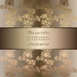 Intricate baroque luxury wedding invitation card. Rich gold decor on beige background with frame and place for text, lacy foliage with shiny gradient Royalty Free Stock Photography