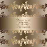 Intricate baroque luxury wedding invitation card. Rich gold decor on beige background with frame and place for text, lacy foliage with shiny gradient Royalty Free Stock Photo