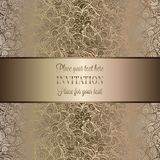 Intricate baroque luxury wedding invitation card. Rich gold decor on beige background with frame and place for text, lacy foliage with shiny gradient Stock Photography