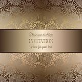 Intricate baroque luxury wedding invitation card. Rich gold decor on beige background with frame and place for text, lacy foliage with shiny gradient Stock Images