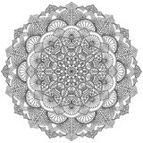 Intricate Black Mandala for Coloring Royalty Free Stock Photography