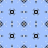 Intricate Black and White Seamless Pattern on a Light Blue Backg Royalty Free Stock Photography