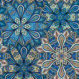 Intricate Blue and Beige Flower Pattern Stock Photography