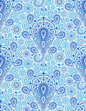 Intricate Blue Paisley Pattern. Intricate Indigo Paisley Pattern. Traditional Persian seamless pattern. Almond shape, curving teardrop with floral elements. Blue royalty free illustration