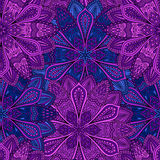 Intricate Blue and Purple Flower Pattern. Intricate vector flower pattern. Elaborate floral background from flower mandala elements for your design. Vector royalty free illustration