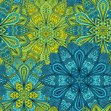 Intricate Blue and Yellow Flower Pattern Royalty Free Stock Photos