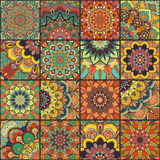 Intricate Boho Tile Seamless. Boho tile set and seamless pattern. Colorful patchwork for fabric print, furniture, wallpaper, fashionable textile. Square design royalty free stock photos