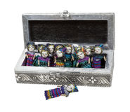 Intricate Box of Worry Dolls. Intricate silver box full of worry dolls.  Confide your troubles to the worry dolls at night to have a good night's sleep - path Stock Photography
