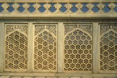 Intricate Carved White Marble Screen Royalty Free Stock Photography