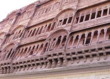 Intricate carved windows. Carved window of a fort in rajasthan jodhpur Stock Photo