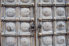 Intricate carved wooden doors of church, Sofia, Bulgaria Stock Photo
