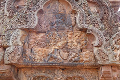 Intricate carvings  at Banteay Srei Royalty Free Stock Image