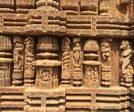 Intricate carvings on the walls of Sun Temple at Konark. Fine sculptures and intricate carvings on the walls of Sun Temple at Konark, Odisha Royalty Free Stock Image