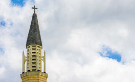 Intricate colonial church steeple under cloudy skies. Colonial church steeple under cloudy skies in Massachusetts Royalty Free Stock Photo