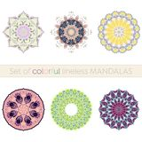Set of six intricate lineless colorful mandalas. Intricate colorful mandalas in pastel colors designed for usage in any decorative form vector illustration