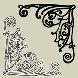 Intricate corner ornaments. Black and white Royalty Free Stock Photography