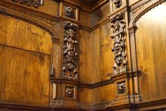 Intricate corner relief carvings in 18th century castle. These relief carvings are located within stunning Kylemore Abbey. The monastery, founded in 1920 for royalty free stock image