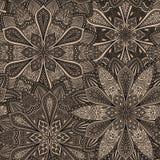 Intricate Dark Brown Flower Pattern Stock Images