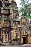Intricate decoration of Banteay Srei Stock Images