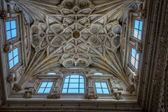 Intricate design on the ceiling of the Mosque Church in Cordoba,. Ornate design on the ceiling of the Mezquita de Córdoba,the Great Mosque of Córdoba, Mosque Royalty Free Stock Image