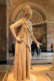 Intricate design of female statue, inside one of many rooms, The Louvre, Paris, France, 2016 stock photos