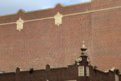 Intricate design of light and dark brick buildings Royalty Free Stock Photo