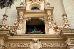 Intricate detail in historic carving of buildings throughout Balboa Park, San Diego, California, 2016 Stock Photography