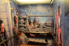 Life on the Eerie Canal painted inside elevator, Eerie Canal Museum, Syracuse, New York, 2017. Intricate detail in typical life on the Eerie Canal painted on the Stock Images