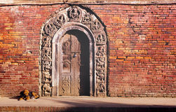 Indian Doorway. Intricate doorway of wood and stone in India Stock Images