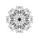 Intricate floral mandala. Abstract round web design element isolated on white background. Vector Royalty Free Stock Photography