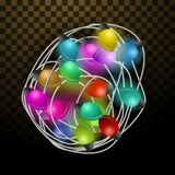 Intricate garlands. Beautiful colorful holidays decorations. Christmas lights on transparent background. Royalty Free Stock Images
