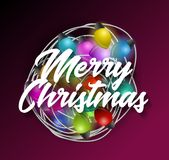 Intricate garlands and Merry Christmas text. Beautiful colorful holidays decorations. Royalty Free Stock Photos