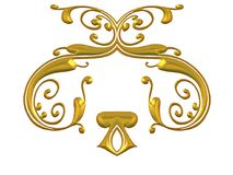 Intricate Gold Flourishes. An isolated gold decorative design accent element resembling jewelry Stock Images