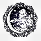 Intricate hand drawn vector crescent moon. Stock Image