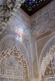 Moorish art and architecture in the. Intricate Islamic carvings in the Alhambra Palace, Granada Royalty Free Stock Photo