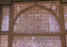 Intricate marble filigree screen. Tomb of Islamic Saint Salim Chisti,Fatepuhr Sikri, Agra,India, South Asia Stock Photos