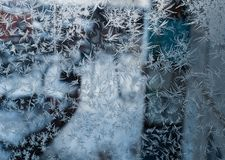 Glass covered with ice during severe frosts in winter Stock Photo
