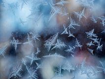 Glass covered with ice during severe frosts in winter Royalty Free Stock Photos