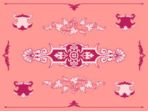 Intricate pink filigree ornament design elements Stock Image