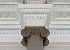 Intricate plaster cornice ceiling. With pillar Royalty Free Stock Image