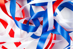 Intricate ribbons of red white and blue Royalty Free Stock Photos