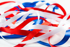 Intricate ribbons of red white and blue Stock Photos