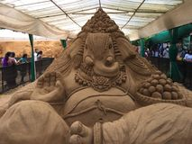Intricate sand sculpture of Lord Ganesh in Mysore Stock Images