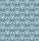 Intricate Silver and Blue Luxury Seamless Pattern on Dark Background Royalty Free Stock Photo